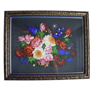 картина Жостовские цветы вышитая бисером